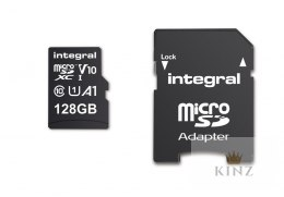 Integral High Speed - Karta pamięci 128 GB microSDXC/100 MB / s/ Class 10 UHS-I U1/ V10 + Adapter Integral